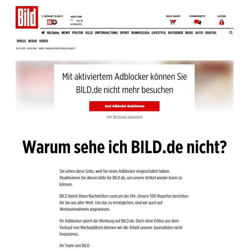 Bild.de mit Werbeblocker