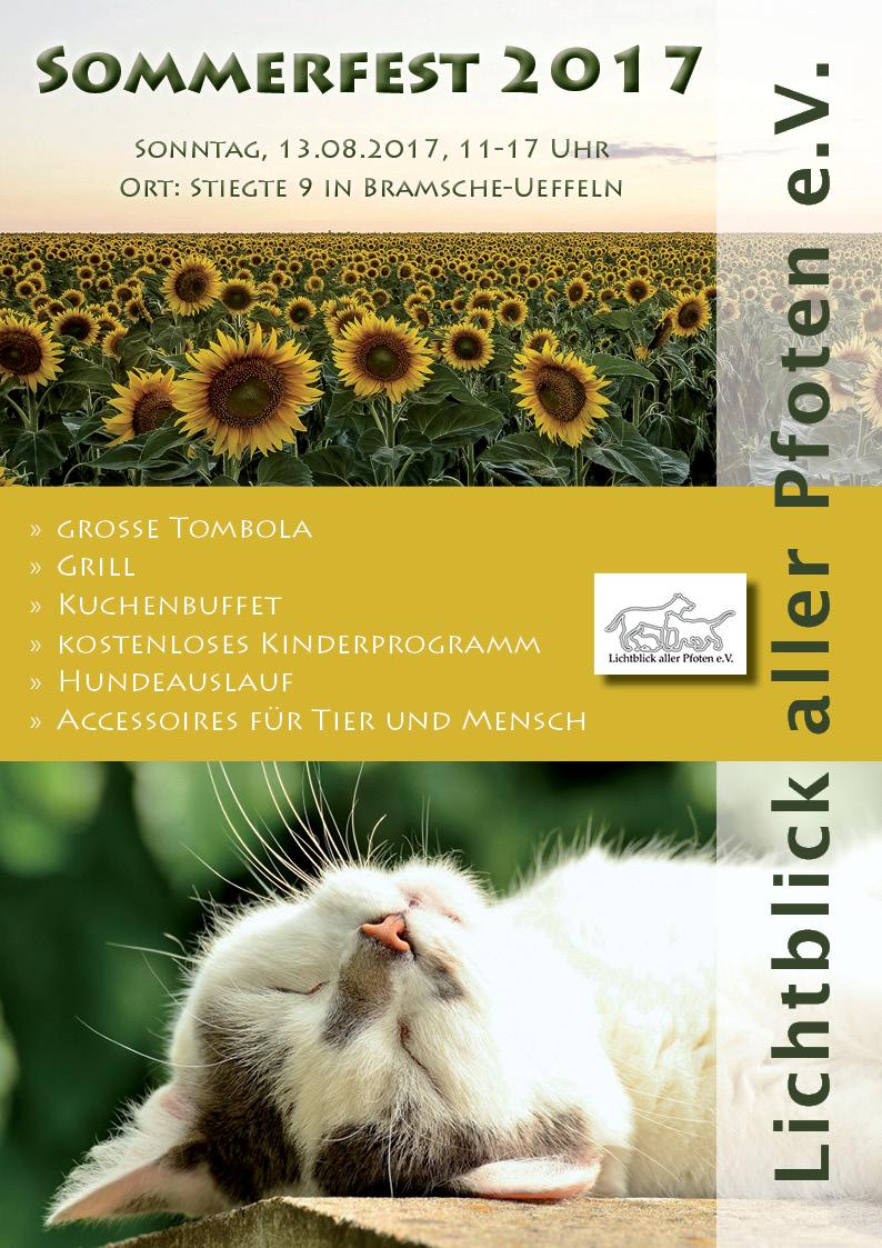 Lichtblick aller Pfoten e. V. - Plakat Sommerfest