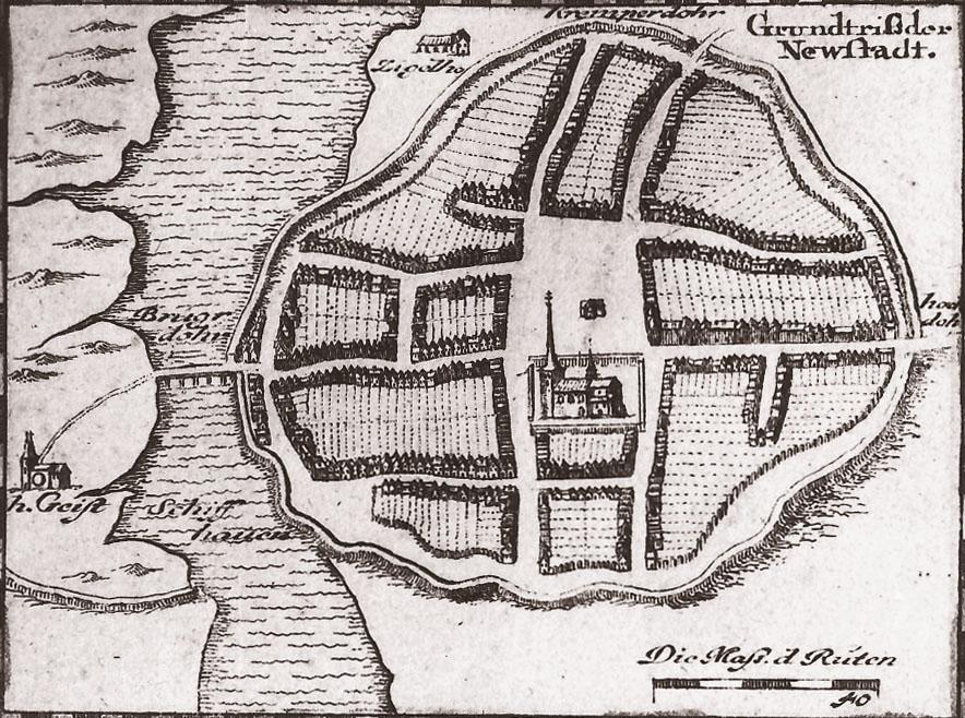 Neustadt in Holstein - Stadtplan von 1649