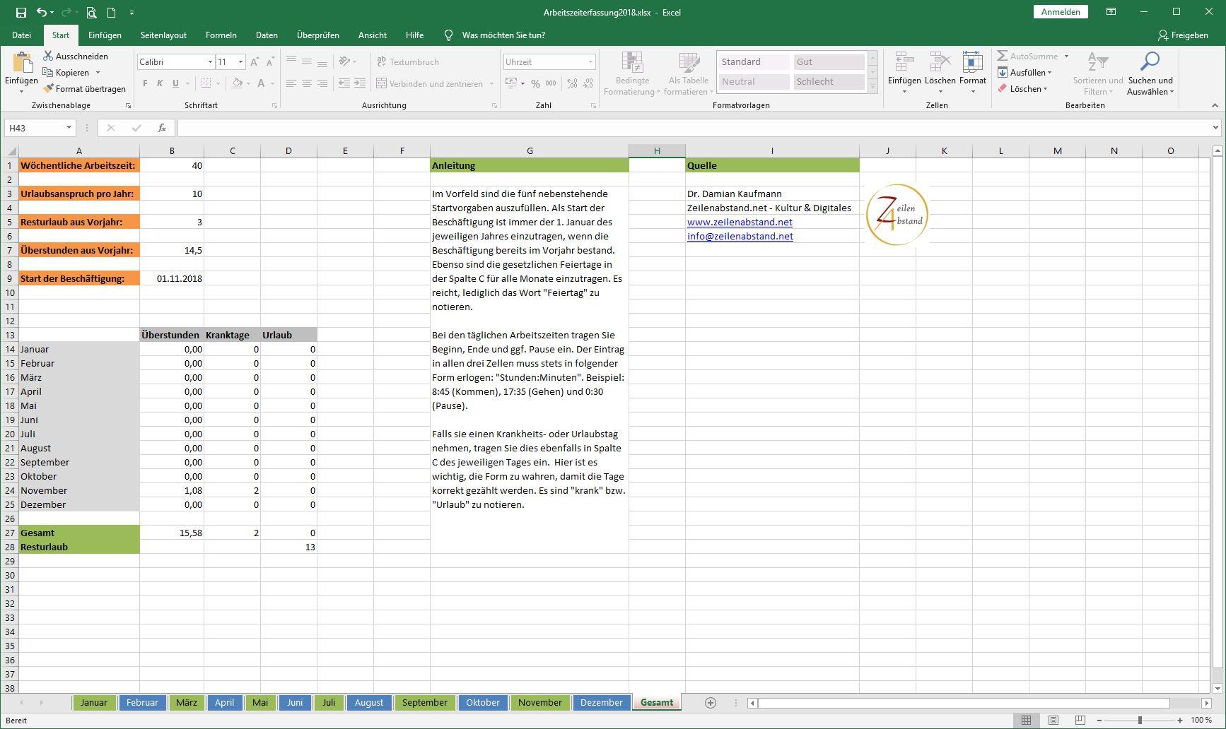 Arbeitszeiterfassung In Excel Vorlage Zur Freien Nutzung
