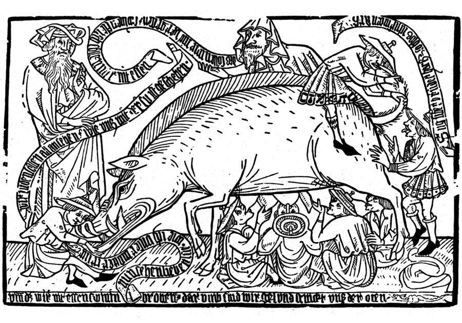 Judensau - Holzschnitt um 1470