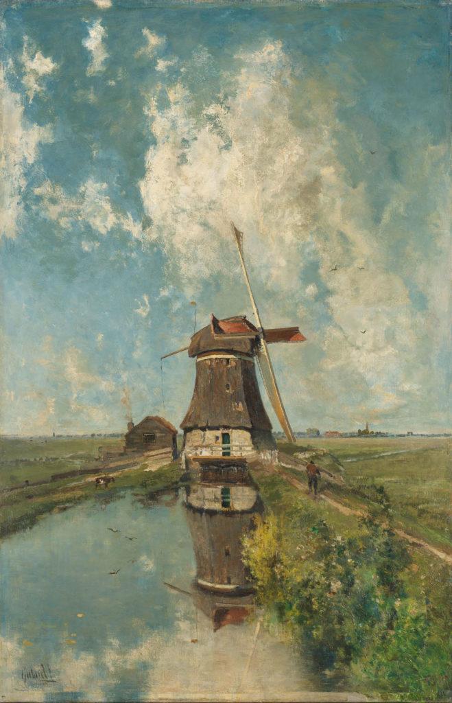 Paul Gabriël - Eine Windmühle auf einer Polder-Wasserstraße