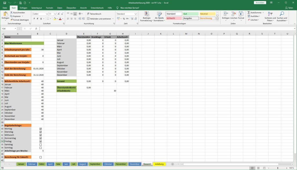 Arbeitszeiterfassung Excel