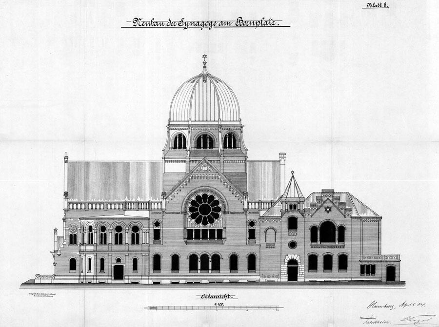 Plan der Bornplatzsynagoge von 1904