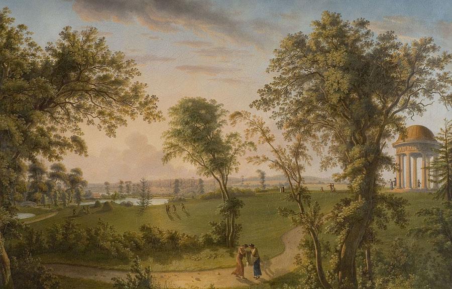 Ludwig Philipp Strack, Ansicht des Eutiner Schlossgartens mit dem Sonnentempel